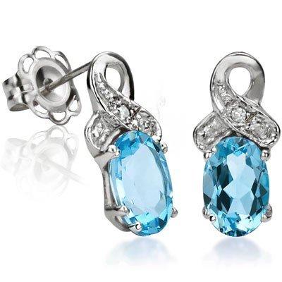Blue Topaz with White Diamond Earrings