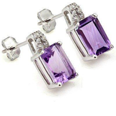Amethyst Stud Earrings - Sapphire