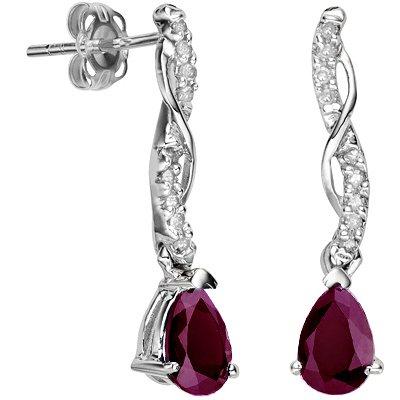 Genuine Ruby Earrings - Burgundy