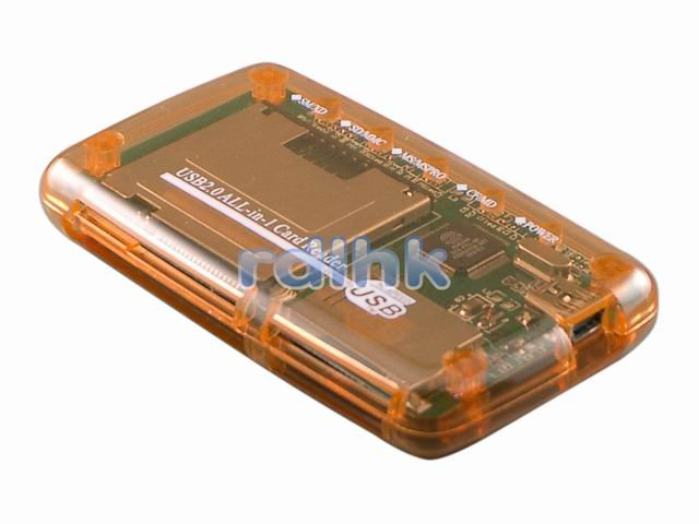 ORANGE ALL-IN-1 USB 2.0 CARD READER FOR MMC/MS/SD/XD