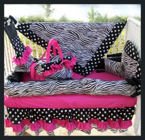 HOT PINK BLACK ZEBRA POLKA DOTS Crib Bedding Set