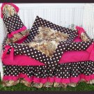 BROWN HOT PINK ZEBRA POLKA DOTS Crib Bedding Set