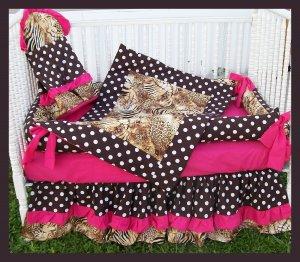 BROWN HOT PINK ZEBRA POLKA DOTS Crib Bedding Set