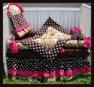 New baby crib bedding set in BROWN POLKA DOTS ZEBRA and HOT PINK fabrics