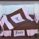 New baby Crib Bedding Set in JUICY COUTURE theme fabric
