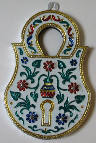 Meenakari Lock with Five Key Hooks - Wall Hanging
