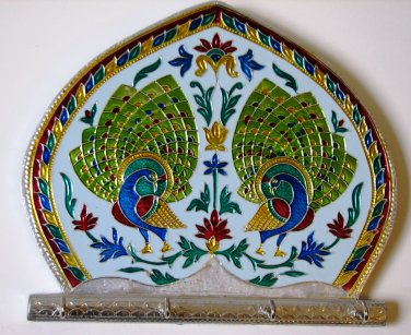Meenakari Peacock with Four Key Hooks - Wall Hanging