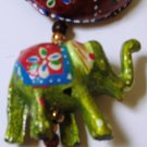 Colourful strings of hanging elephants with sunshade umbrella and bell - Wall hanging