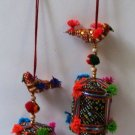 Colourful strings of hanging birds with Drum and bell.