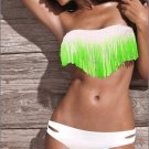 SEXY Lady's Tassel PAD Bandeau Fringe Top BIKINI Bottom BEACH Swimsuit SWIMWEAR