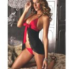 Dual color sexy babydoll with ribbon detail