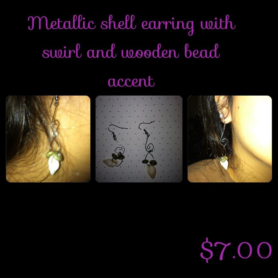 Metallic Cone Shell Earrings with Swirl & Wooden Bead Accents