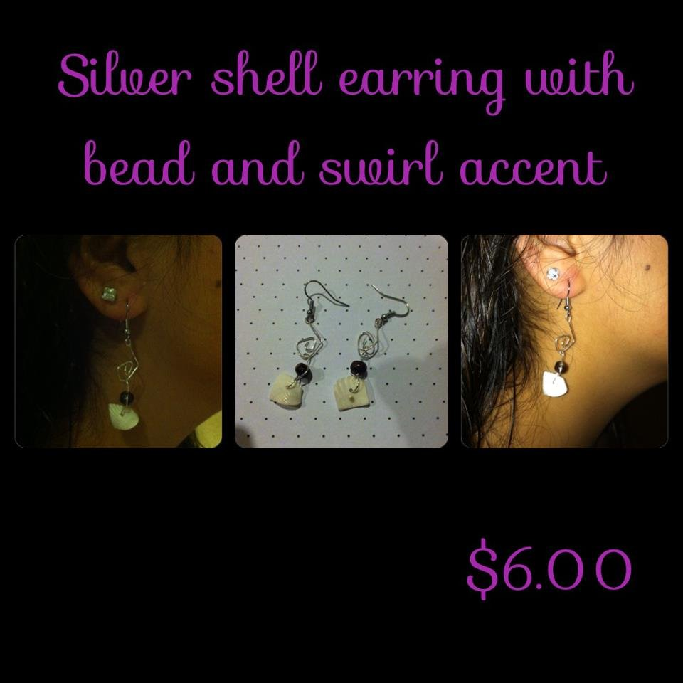 Silver White Shell Earrings with Swirls & Bead Accent