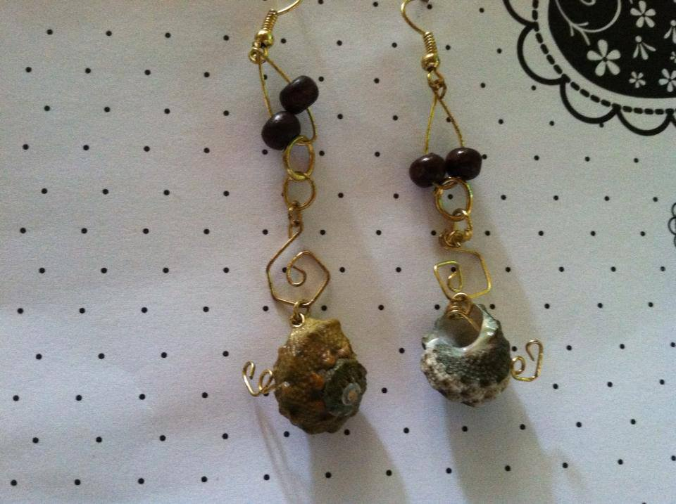 Gold Shell Earrings with Swirls & Wooden Beads.