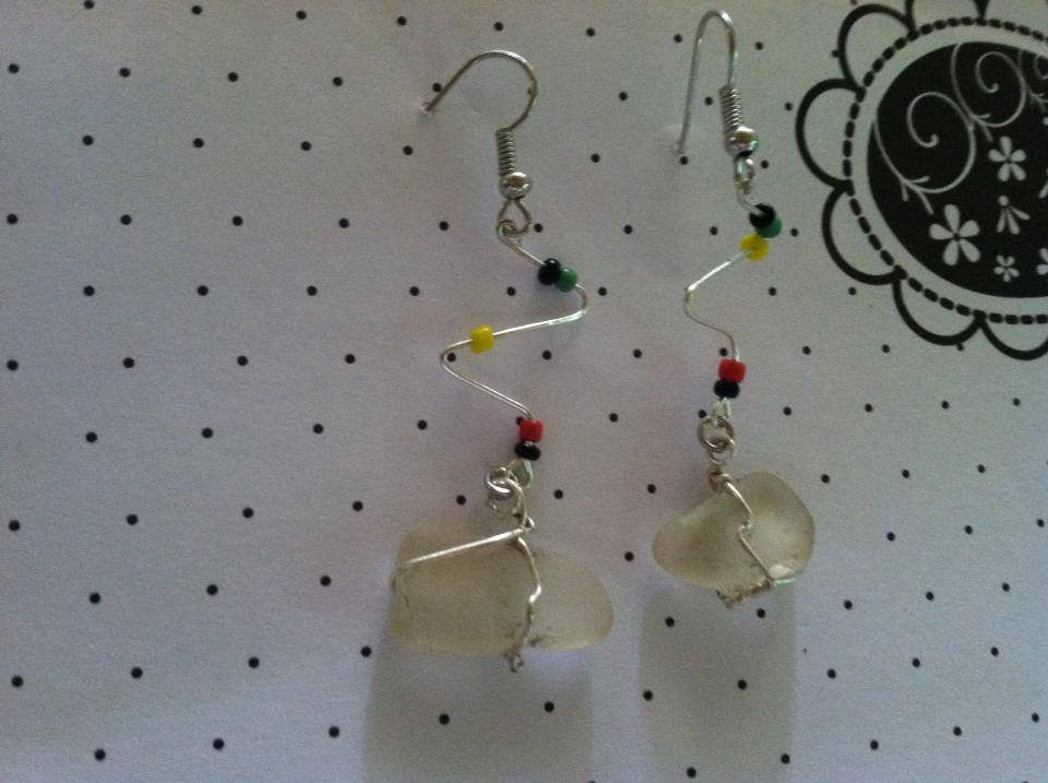 Hand picked sea glass earrings with reggae bead accents.