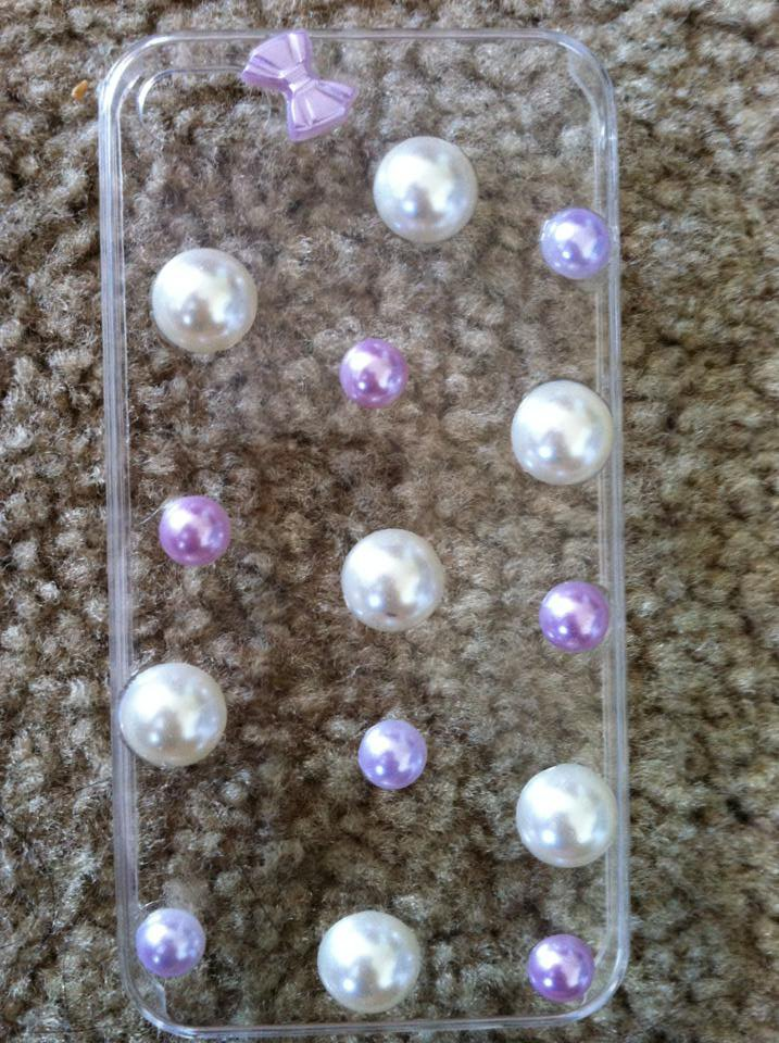 Clear iPhone 4/4s Case. Purple & White Bows & Dots