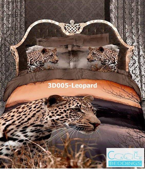 3D 100% cotton Leopard Bedding Set (Queen Size )