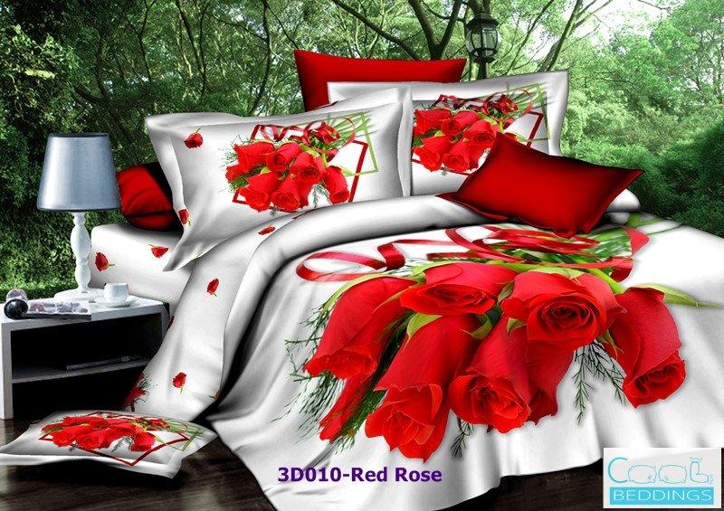 3D 100% cotton Red Rose Bedding Set (King Size )