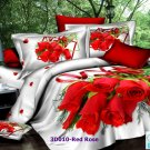 3D 100% cotton Red Rose Bedding Set (King Size )
