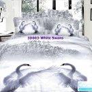 3D 100% cotton White Swans Bedding Set (King Size )