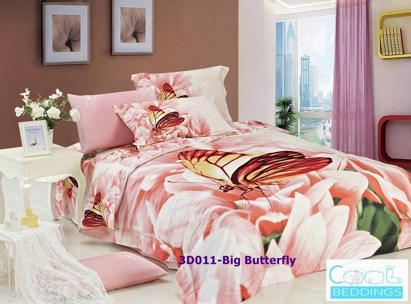3D 100% cotton Big Butterfly Bedding Set (King Size )