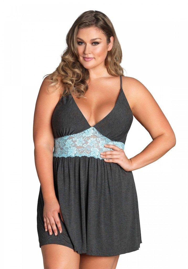 Jersey And Lace Slipdress Size 1X/2X