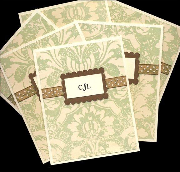 monogram notecards - brown