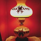 ~ VINTAGE GONE WITH THE WIND HURRICANE LAMP W/ BRASS FLORAL DESIGN ~