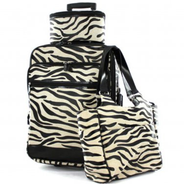Zebra Print Tote & Luggage Set