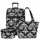 Damask Broque Patterned Rolling Luggage, Tote & Cosmetic Bag
