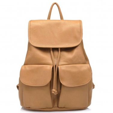 Double Pocket Leather Clamshell Backpack