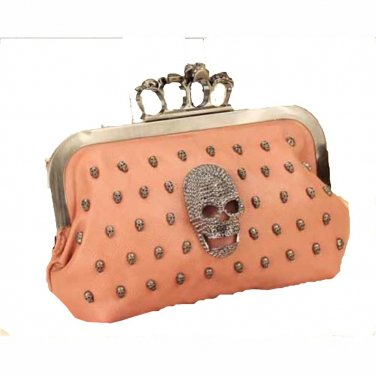 Brass Knuckle Steam Punk Clutch Pink