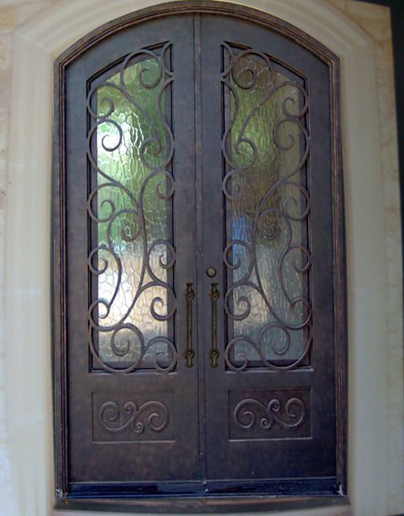 Wrought iron doors french architectural style ded 085 for French style double doors