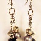 E4 - black & gray beaded earrings