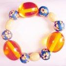 B11 - orange & blue beaded bracelet