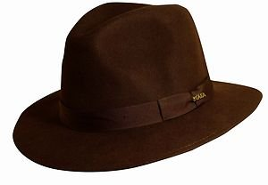 SCALA-Crushable Rain-Water Repellent Proof Soft Wool-Brown Fedora Hat-XL