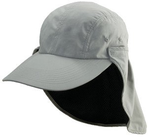 Cooling-Super Soft-Quick Drying Removeable Face-Neck Flap Sun Shape Cap-Gray