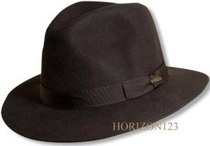 SCALA-Crushable Rain-Water Repellent Proof Soft Wool-Brown Fedora Hat-Large