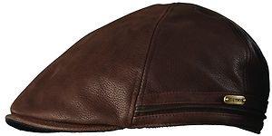 STETSON- BROWN Full Grain Leather Ivy Driving Cap-Golf-Cabbie-Newsboy Hat-XL