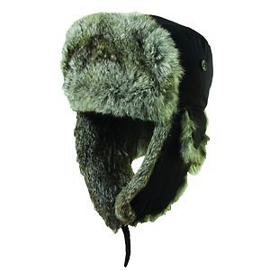 GENUINE Rabbit Fur-Trooper/Bomber/Russian Winter Fold Ear Flap Hat-Black-Small