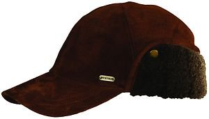 STETSON Cap-Suede Leather-Folding Fur Ear Flap-Bomber-Aviator Hat-Brown-MEDIUM