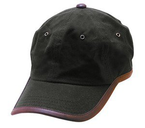 Rain proof-Brown Oilcloth Baseball/Ball Cap-w/Leather Trim-Adjustable-Fits Most