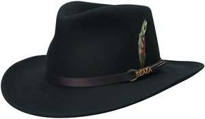 SCALA-Soft-Crushable Rain Water Repellent-Black Outback Hat-Large