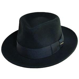 SCALA-Soft Wool-Crushable Rain Water Repellent-Black Fedora Hat-MEDIUM