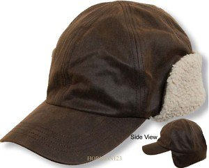 Oilcloth-All Weather-Folding Ear Flap Berber Fur Hat-Ballcap Style-Brown-MEDIUM