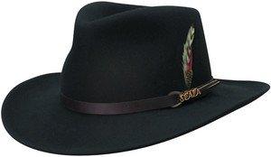 SCALA Soft-Crushable-Rain Water Repellent Black Outback Hat-Medium
