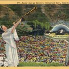 "Hollywood- C. T. Art ""Easter Services at the Hollywood Bowl, Hollywood, California"" Linen Postcard"