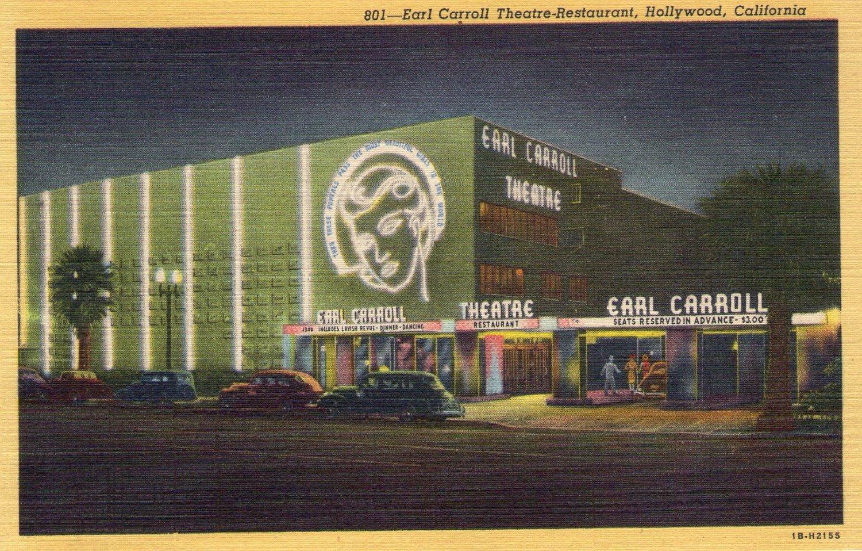 "Hollywood- C. T. Art ""Earl Carroll Theatre-Restaurant, Hollywood, California"" Linen Postcard"