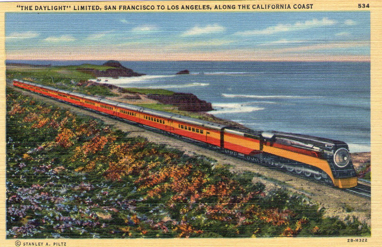"Scenic- Stanley A. Plitz ""The Daylight"" Train Linen Postcard"