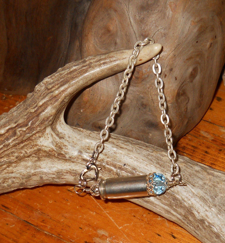 Ammo Bracelet 38 Auto OOAK Shell Casing Bracelet- Blue and Silver- Swarovski Crystal
